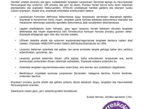 Haurreskoak  Partzuergoko  STEILASBERRI  11:  Kudeaketako  langileen  LEParen  prozesua  eta  negoziazioa