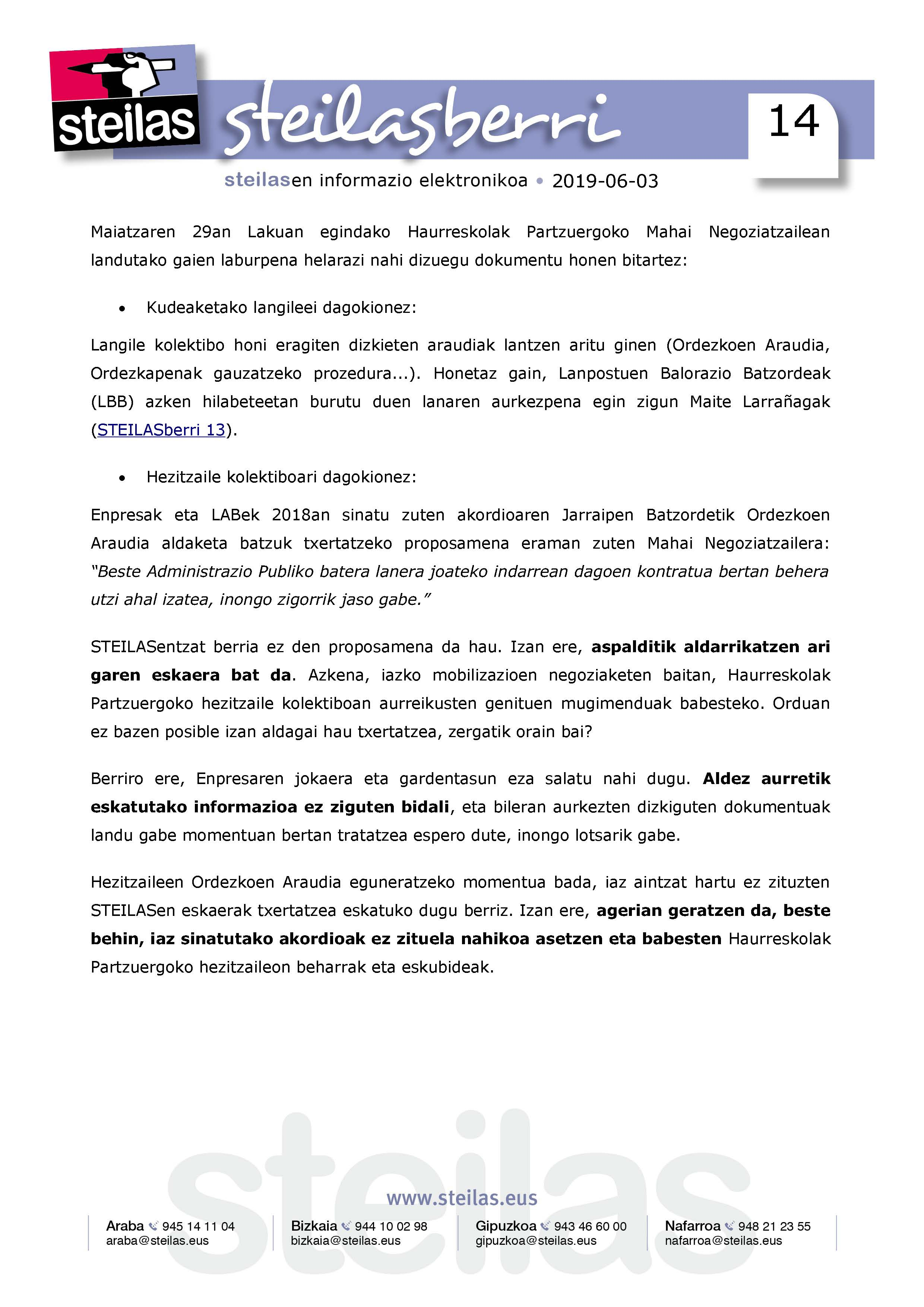 Calendario Laboral Gipuzkoa 2019.Inicio Steilas